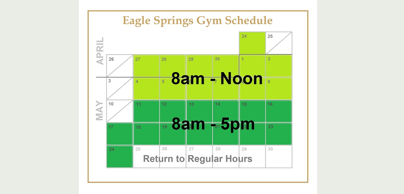 Gym Schedule for Reopening - April/May 2020